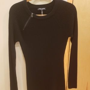 David Lerner sweater dress with zip detail by neck